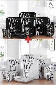 32 PIECE BLACK & WHITE SQUARE DINNER SERVICE SET RETRO DESIGN STONEWARE