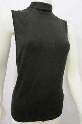 Akris Women Elastic Solid Black Sleeveless Fashion TankTop Turtle Neck Blouse 10