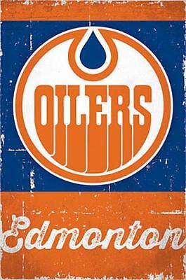 EDMONTON OILERS Retro 1970s Vintage Style Official Team Logo Wall POSTER - Edmonton Oilers Team Logo Poster