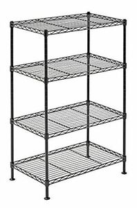 4 Shelf Wire Shelving Rack Steel Metal green Adjustable Unit