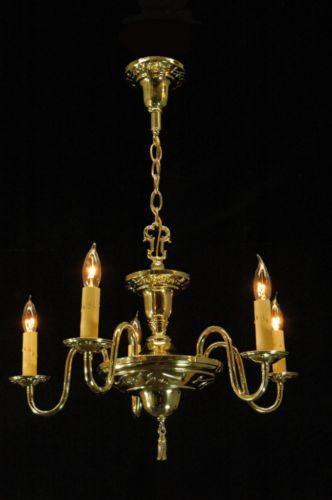 Colonial Brass Chandelier Ebay