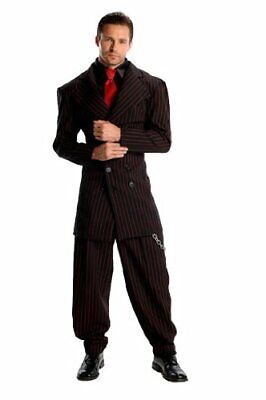 Zoot Suit Roaring 20's Pinstripe Gangster Fancy Dress Halloween Adult Costume