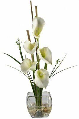 Nearly Natural 1118-CR Calla Lilly Liquid Illusion Silk Flower Arrangement, Crea