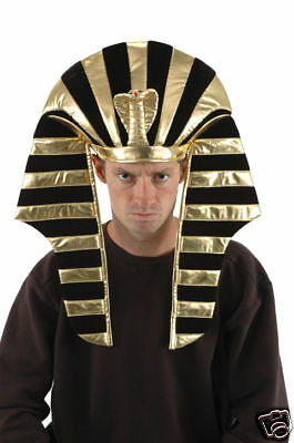 KING TUT HEADPIECE HAT GOLD & BLACK EGYPTIAN PHARAOH ONE SIZE-FUN@HALLOWEEN-NEW - Egyptian Headpiece Halloween