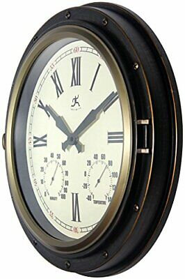 Wall Clock Outdoor Weather Station Analog Hygrometer Thermom