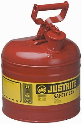 Justrite 7120100 2 Gallon Type I 1 Red Steel Gas Can