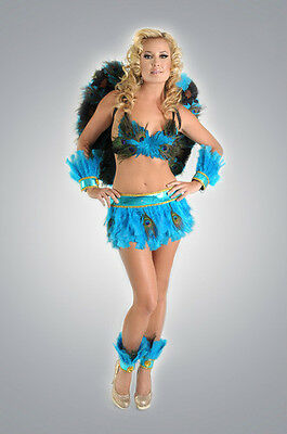 7pc Turquoise Peacock Costume Bra Skirt Cuffs Wings Showgirl Carnival Feather
