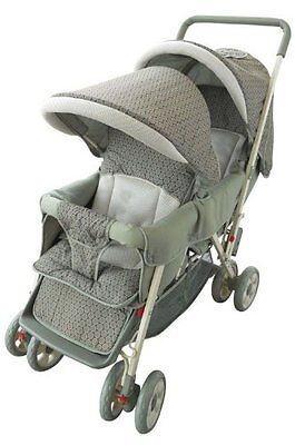 AmorosO Deluxe Double Baby Stroller  Green NEW