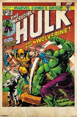 MARVEL THE INCREDIBLE HULK AND WOLVERINE COMIC BOOK COVER #181 POSTER NEW 24x36  - Incredible Hulk Comic Book Cover