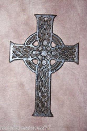 (1) Gaelic Wall Decor Celctic Cast Iron Cross, #31