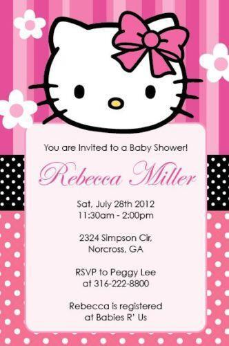 hello kitty baby shower invitations ebay