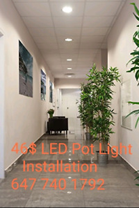 45$ LED pot light installation. 647 740 1792