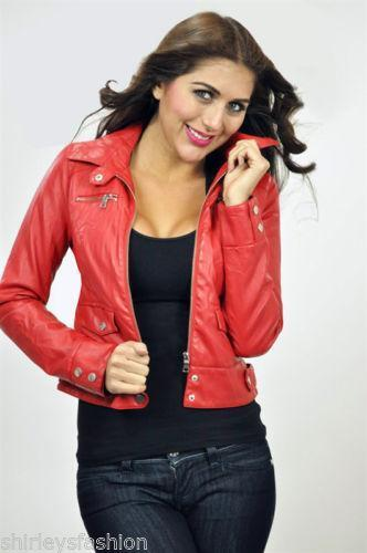 Womens Red Leather Motorcycle Jacket Ebay