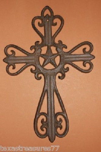 Lone Star Texas Country Western Wall Cross Decor, Cast Iron, C-3