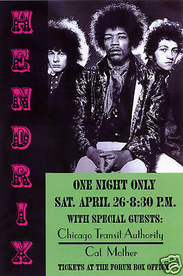 Classic Rock: Jimi Hendrix at Los Angeles Forum Concert Poster Circa 1969