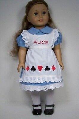 ALICE in WONDERLAND Costume Dress Apron Doll Clothes For 18 American Girl (Debs)](Modern Alice In Wonderland Dress)