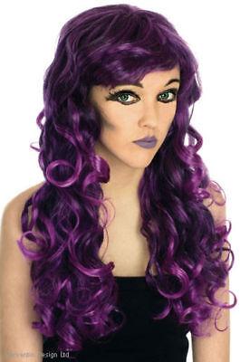 Damen hell violett Gothik Perücke Lang Gewellt Halloween Hexe Kostüm NEU