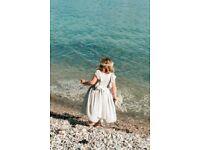 Beautiful Soft Grey Flowergirl Bridesmaid Dress - Age 7 - 8