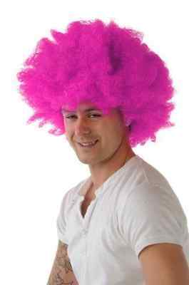 Gelockt Afro Perücke Rosa Farbe Party Clown Funky - Rosa Clown Kostüme