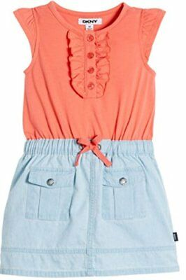 DKNY Denim Dress with Cap Sleeves for Girls, Coral - Size: 8 - I-6