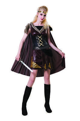 Ladies Brown Viking Warrior Queen Fancy Dress Costume Outfit Womens Uk 12-14
