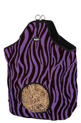 Purple Zebra Print Heavy Denier Nylon Feed Horse Hay Bag Tote Stall Trailer