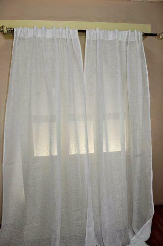 White Linen Curtains Ebay