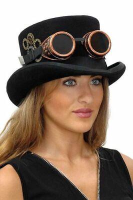 Ian Steampunkhut Top Hat Steampunk Zylinder schwarz Zahnrad Brille ()