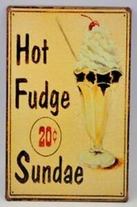 Diner Inspired Hot Fudge Sundae Tin Wall Sign