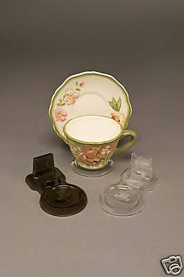 6 New Clear Tea Cup and Saucer Stands, holder, espresso sets