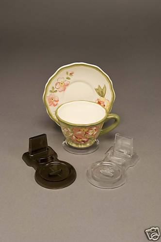 24 (SMOKE COLOR) New Tea Cup and Saucer Stands + FREE dinnerware displayer