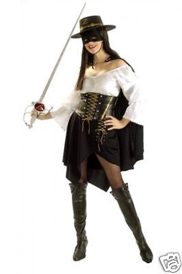 Lady Zorro Masked Bandit Grand Heritage DLX Dress Up Halloween Adult Costume S