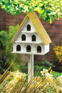 MULTI-LEVEL-WOODEN-BIRDHOUSE-CONDO-Shabby-Yard-Garden-Bird-House-NEW