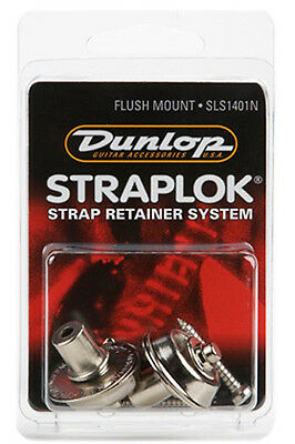 DUNLOP® FLUSH MOUNT STRAP LOCKS GUITAR & BASS STRAPLOCK (NICKEL) *NEW* SLS1401N