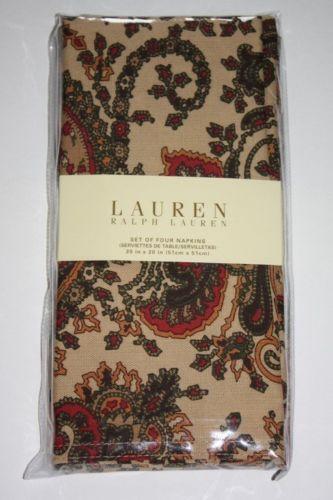 Ralph Lauren Paisley Napkins Ebay