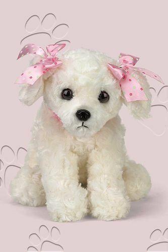 BEARINGTON Plush Toy WHITE MALTESE Stuffed Animal PUPPY DOG Pink Ribbon Sassy