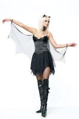 Sexy Bat Costume 2Pc Blk Satin & Sheer Dress & Headpiece Halloween Costume](Plain Black Dress Halloween Costume)