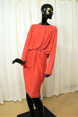 LANVIN, Paris Rich Coral Full Bodice Dolman Sleeved Figure Flattering Dress Sz44