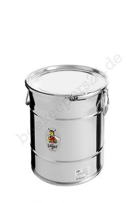 Honig Lagerbehälter 35 kg mit Spannring und Dichtung, Edelstahl, Honigeimer