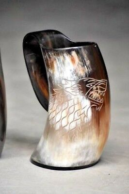 - Game Of Thrones Stark-Sigil Wolf Viking-Drinking Horn Mug Cup Beer Wine Mead Ale