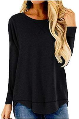 Women s Casual Round Neck Long Sleeve Shirt Side, Dark Black, Size Large UuyL - $13.99