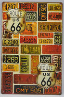 New- 8 x 12 inch Route 66 License Plates Tin Wall Sign