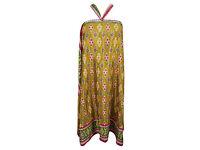 Magic Wrap Skirt Green Printed Silk Sari Reversible Cover Up Cruise Dress