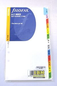 Filofax Personal size A-Z Index Multi Coloured Divider Insert Refill 131608