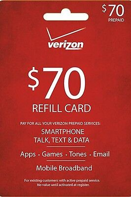 Verizon  70 Refill Email Delivery