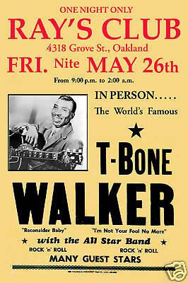 Blues Master : T-Bone Walker at  Oakland Blues Concert Poster 1956   12x18