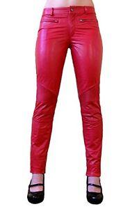 Mujer-Pantalones-Cuero-Rojo-Slimfit-Pantalon-ziegen-nappa-echtleder-DALILA-XXS
