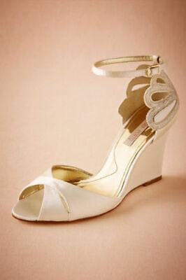 Anthropologie Bhldn De Mer Wedge Scalloped Shoe by LAURA PORTO Wedding Size 38
