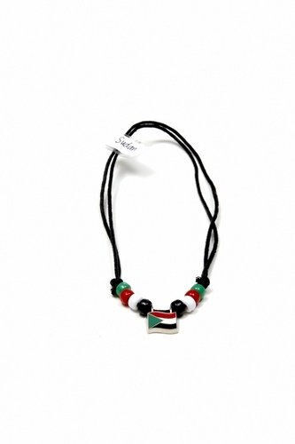 SUDAN  COUNTRY FLAG SMALL METAL NECKLACE CHOKER .. NEW