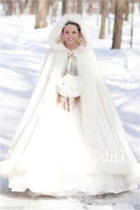 Noble Ivory Satin Bridal Winter Wedding Long Cloak Cape Faux Fur Bridal stock**